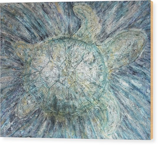 Mystical Sea Turtle Wood Print