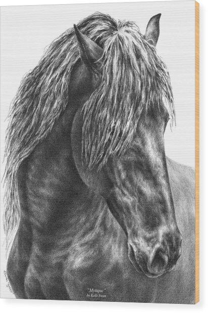 Mystique - Friesian Horse Portrait Print Wood Print
