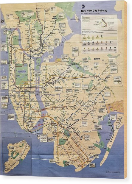 N Y C Subway Map Wood Print