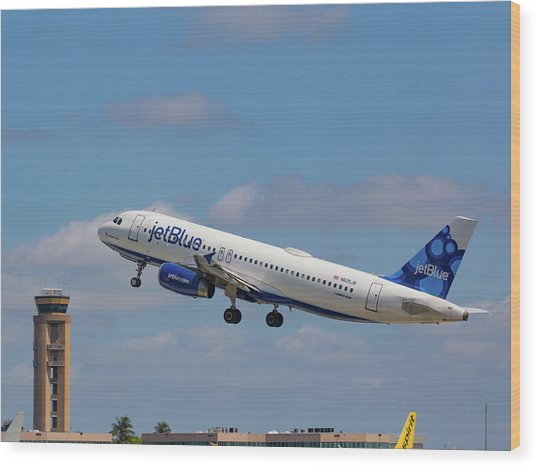 N625jb Jetblue At Fll Wood Print