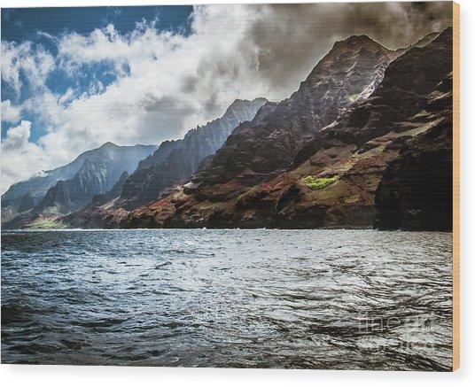 Na Pali Coast Cliffs Kauai Hawaii Wood Print