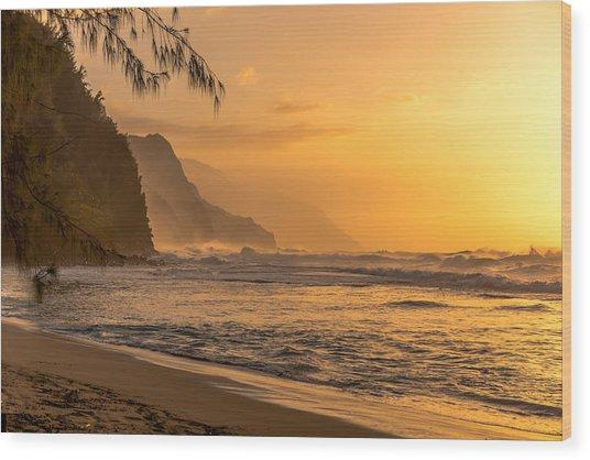 Na Pali Coast Sunset Wood Print