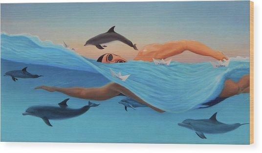 Nadando Contra Corriente Wood Print