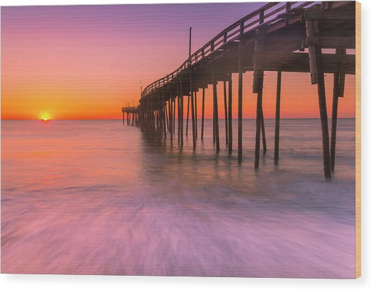 Nags Head Avon Fishing Pier At Sunrise Wood Print