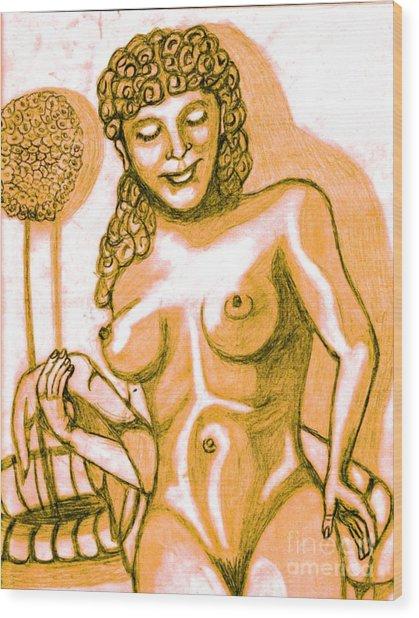 Naked Goddess Wood Print by Richard Heyman