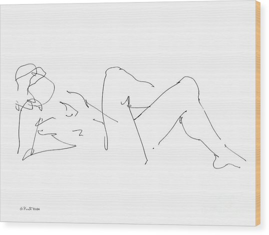 Naked-male-drawing-14 Wood Print