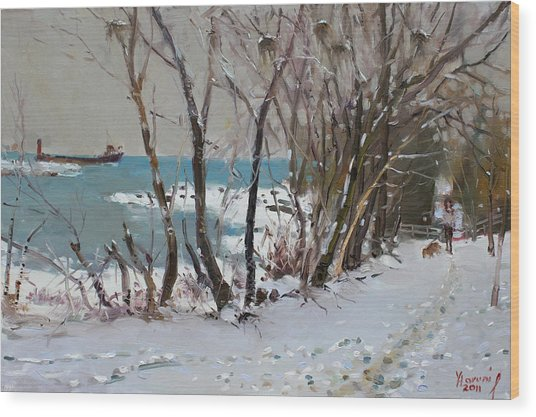 Naked Trees By The Lake Shore Wood Print