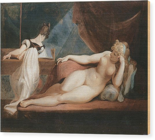 Naked Woman And Woman Playing The Piano Wood Print by Johann Heinrich Fussli