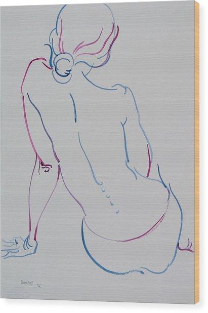 Naked Woman Sitting With Bare Back Wood Print by Vitali Komarov
