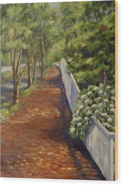 Nantucket Fence Number Three Wood Print by Andrea Birdsey Kelly