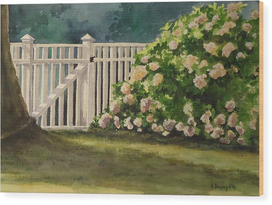 Nantucket Fence Number Two Wood Print by Andrea Birdsey Kelly