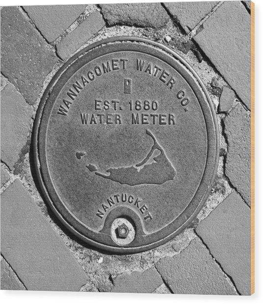 Nantucket Water Meter Cover Wood Print
