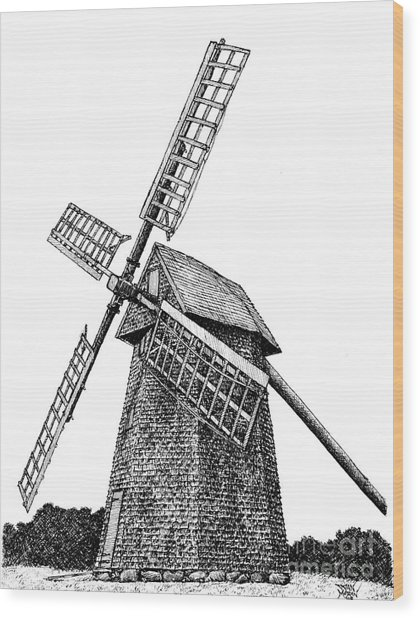 Nantucket Windmill Number One Wood Print