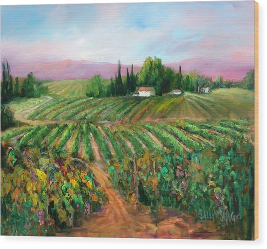 Napa Harvest Wood Print by Sally Seago