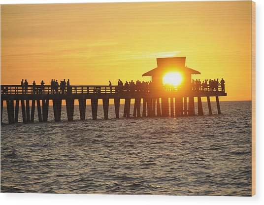 Naples Florida Sunset Pier Wood Print by Keith Lovejoy
