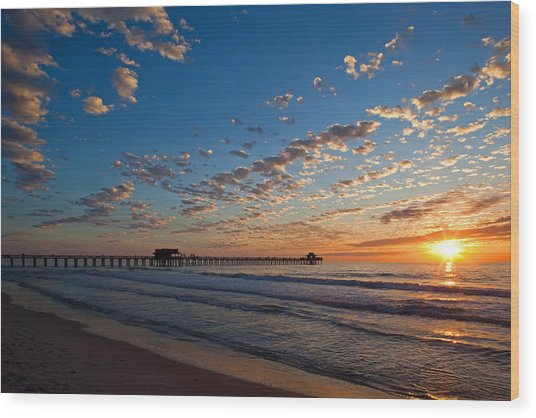 Naples Pier Days End. Wood Print
