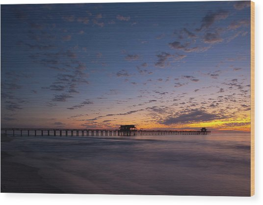 Naples Pier Magic Hour Wood Print