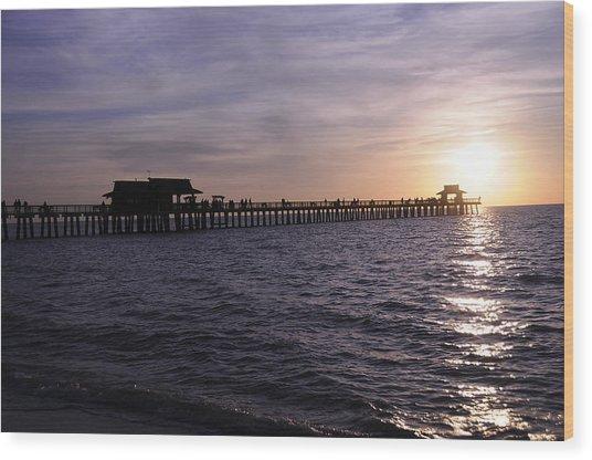 Naples Pier Sundown Wood Print by Keith Lovejoy