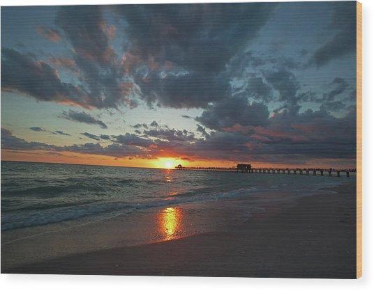 Naples Pier Sunset  Wood Print
