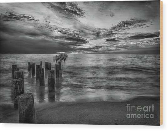 Naples Sunset In Black And White Wood Print