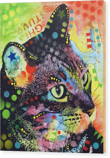 Nappy Cat Wood Print