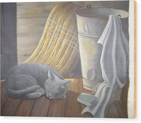 Naptime Wood Print by Judy Keefer