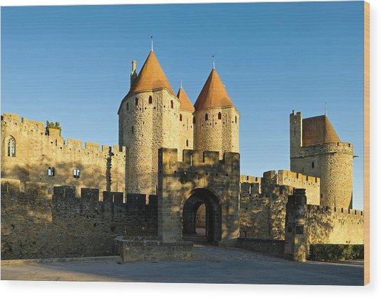 Narbonne Gate Carcasonne Wood Print