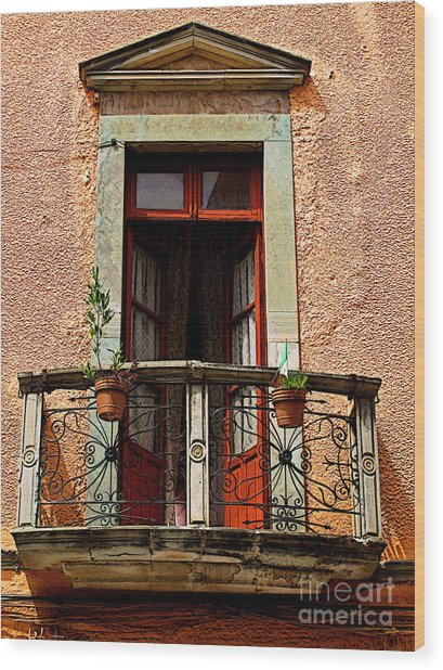 Narrow Red Window Wood Print by Mexicolors Art Photography