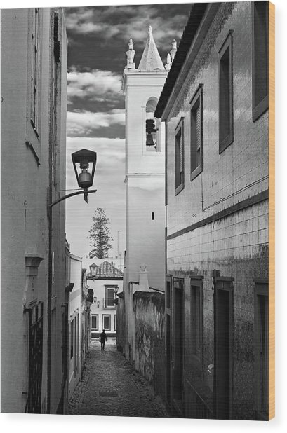 Wood Print featuring the photograph Narrow Street And Bell Tower In Tavira - Portugal by Barry O Carroll