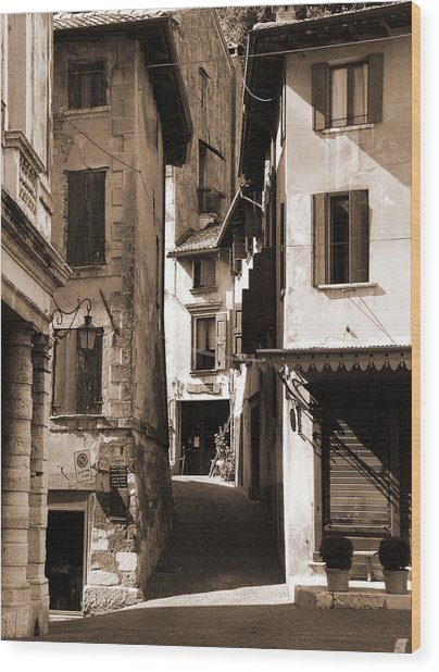 Narrow Streets Of Asolo Wood Print