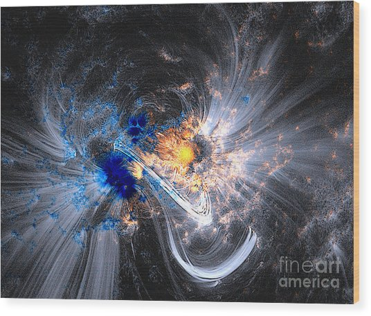 Nasa Coronal Loops Over A Sunspot Group Wood Print