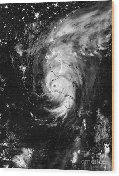 Nasa Hurricane Irma Between Cuba And Florida Satellite Image Wood Print