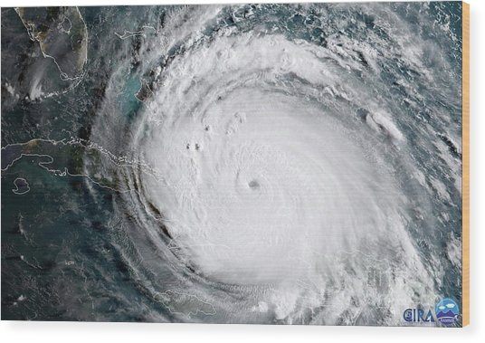 Nasa Hurricane Irma Satellite Image Wood Print