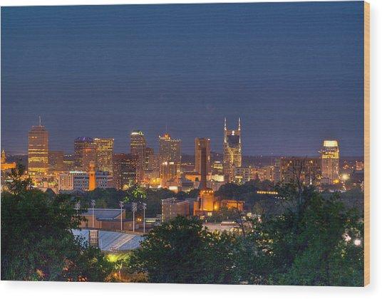 Nashville By Night 2 Wood Print