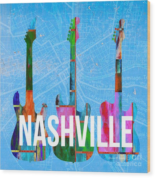 Nashville Guitars Music Scene Wood Print