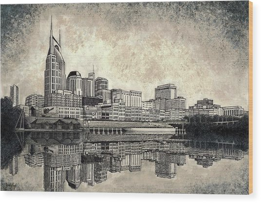 Nashville Skyline II Wood Print