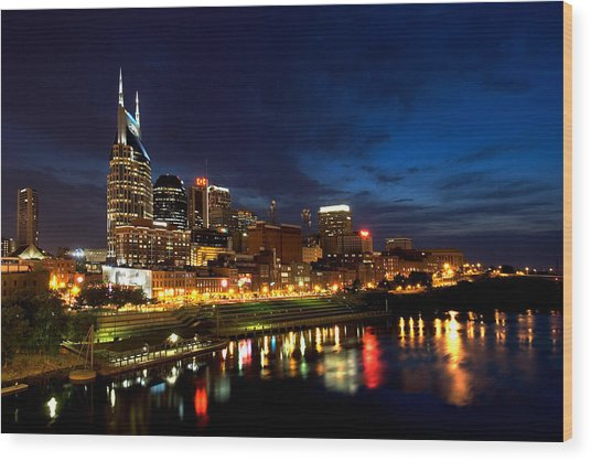 Nashville Skyline Wood Print by Mark Currier