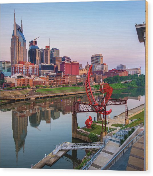 Nashville Skyline - Square Format Wood Print