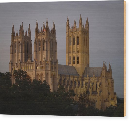National Cathedral At Twilight Wood Print