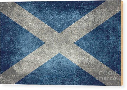 National Flag Of Scotland Vintage Version Wood Print
