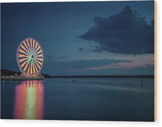 Wood Print featuring the photograph National Harbor Ferris Wheel by Ryan Wyckoff