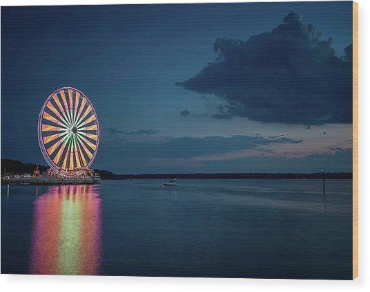 National Harbor Ferris Wheel Wood Print