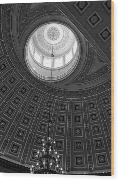 National Statuary Hall Ceiling In Black And White Wood Print