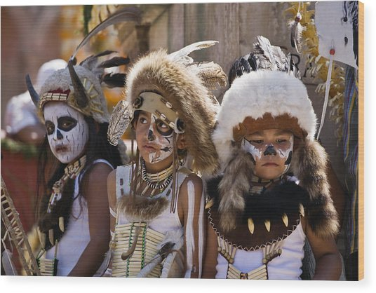 Native American Boys Wood Print