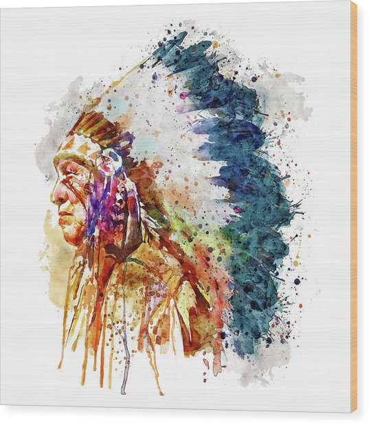 Native American Chief Side Face Wood Print