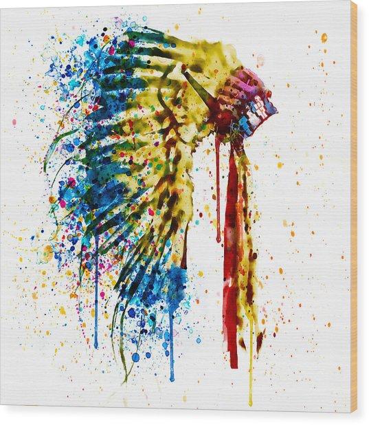 Native American Feather Headdress   Wood Print