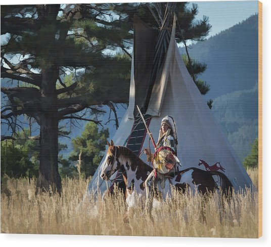 Native American In Full Headdress In Front Of Teepee Wood Print