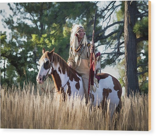 Native American In Full Headdress On A Paint Horse Wood Print
