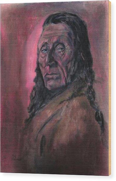 Native American Study Wood Print by Raymond Doward