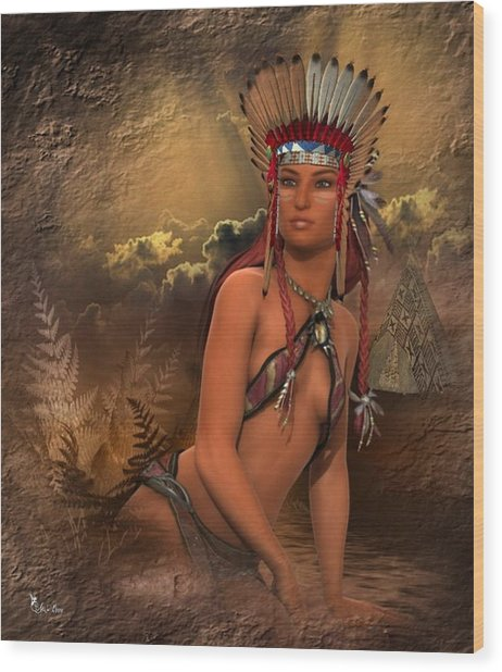 Native American Woman... Abedabun Wood Print